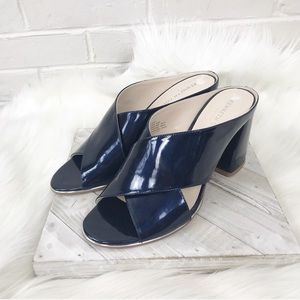 {Kenneth Cole} Navy Chunky Heel Mule Sandals